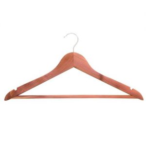 Deluxe cedar wood suit hanger with trouser bar and notches