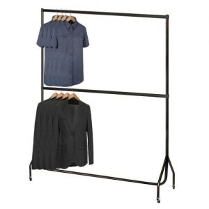 6' Wide 6'1 High Black Garment Rail with Chrome Top and Centre Rails
