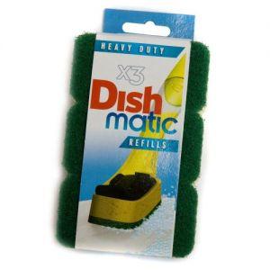3 Heavy Duty Dishmatic Green Refill Sponges