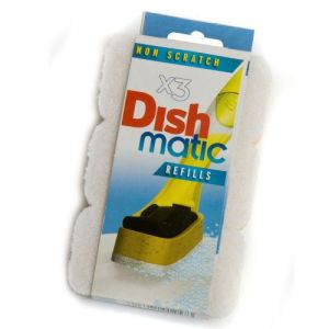 3 Non Scratch Dishmatic White Refill Sponges