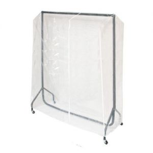 Clear PVC Rail Cover for a 5' Wide Zipped Garment Rail with Extended Height