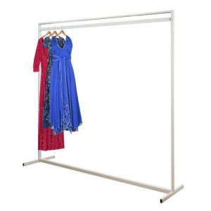 British designed British made Deluxe Stylish Solid Steel Extra High White Garment Rail. Powder coated.