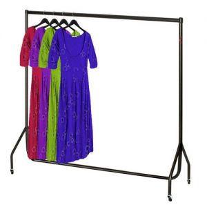 6' Black and Chrome Clothes Rail