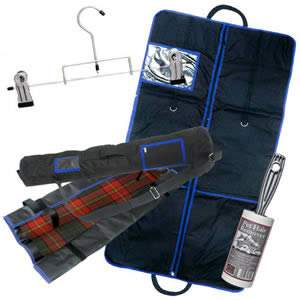 The Caraselle Deluxe Kilt Care Pack - 1 x Heavy Duty Carrier Black with Blue Trim, 1 x Kilt Roll, I x Metal Kilt Hanger & 1 x Sticky Roller Brush