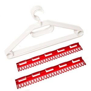 Caraselle 1 Pack of 5 White Windproof Hangers w. 2 Accessory Holders