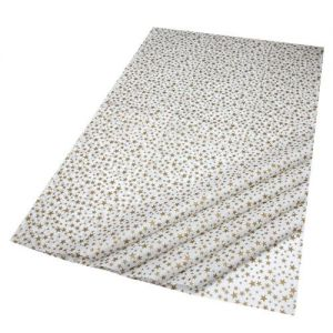 Gift Wrap Tissue in Gold Stars/White Design - 5 Sheets