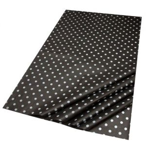 Gift Wrap Tissue in White Dots on Black Design - 5 Sheets