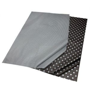 Gift Wrap Tissue Spots & Stripes in Black & White Combination Pack - 5 Sheets