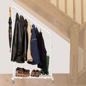 White Under Stairs Clothes Rail Pack with Bottom Shelf & Hanging Hooks