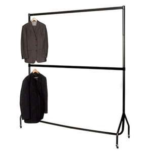 "6' Wide 6'1"" High Black Garment Rail. Chrome Top Rail & Centre Rail"