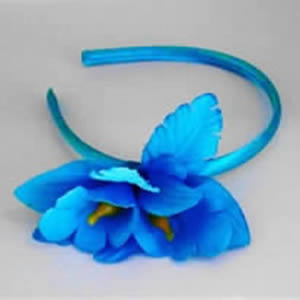 Light Blue Hair Band with Blue Flower by Caraselle
