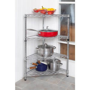 Caraselle 3' High Chromed Steel Modular Corner Shelving Unit