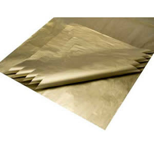 1 Pack of 10 sheets of Deluxe Metallic Gold Colour Acid Free Bleed Resistant Unbuffered Tissue Paper 500 x 700