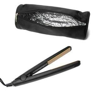 Travel Hair Straightener in Black with Free Heat Resistant Travel Pouch