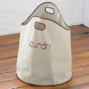 Beige Nylon Laundry Hamper