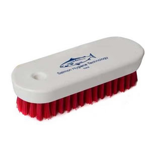 120mm Stiff Polyester Vegetable Cleaning Brush with a white wooden stock &amp; Red Bristles. Made in England.