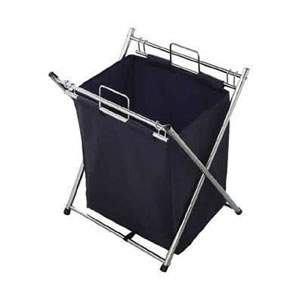 Chrome & Blue Laundry Hamper