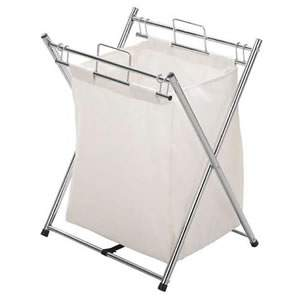 Deluxe Chrome & Canvas laundry Hamper