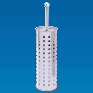 Free-Standing Circular Stainless Steel Toilet Brush & Holder