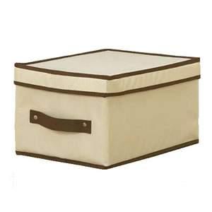 One Foldable Storage Box With Lid - Cream Nylon