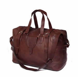 Large Deluxe Saccoo Soft Brown Leather Luxury Weekend Travel Bag 53 x 25 x 40 cms.  Designed by JanPaul Bosboom in The Netherlands