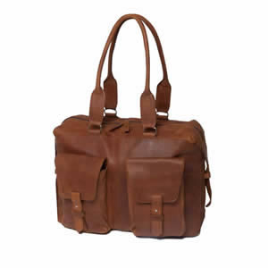 Deluxe Saccoo Soft Tobacco Leather Luxury Weekend Travel Bag 45 x 16 x 38 cms.  Designed by JanPaul Bosboom in The Netherlands