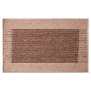 2 x Machine Washable Madras Door Mats 50 x 80 cms in Beige & Brown