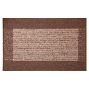 2 x Machine Washable Madras Door Mats 50 x 80 cms in Brown & Beige