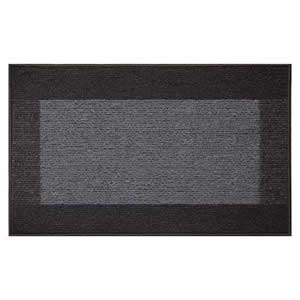 Machine Washable Madras Door Mat 50 x 80 cms in Dark &amp; Light Charcoal Grey
