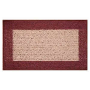 Machine Washable Madras Door Mat 50 x 80 cms in Dark & Light Rust