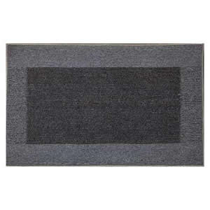 Machine Washable Madras Door Mat 50 x 80 cms in Light &amp; Dark Charcoal Grey