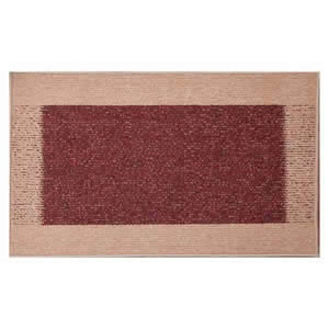 2 x Machine Washable Madras Door Mats 50 x 80 cms in Light & Dark Rust