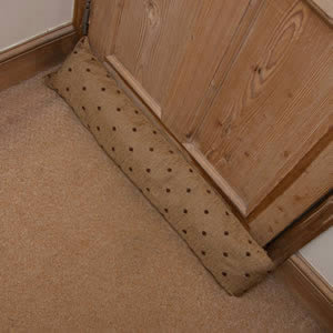 Draught Excluder in Beige & Dark Brown Spots