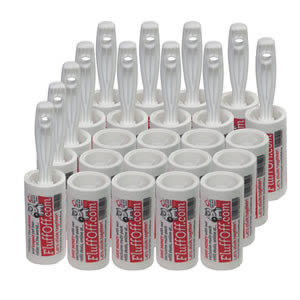 The Caraselle pack of 12 x FluffOff Sticky Roller Brushes & 12 x Roller Refills