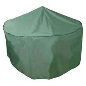 Deluxe 4-6 Seater Circular Patio Set Cover in High Quality Dark Green PVC Backed Polyester UV Stabilised against Sunlight with Centre Water Shedding Pole by Bosmere 188cm dia x 84cm high