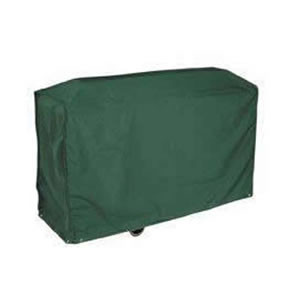 Deluxe Dark Green Trolley BBQ Cover in High Quality PVC Backed Polyester UV Stabilised against the Sun. Made by Bosmere. 97 x 79 x 51 cm