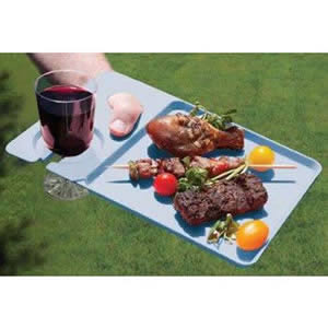 Pack of 4 Blue Plastic Dining Trays 30 x 20 x 1cm
