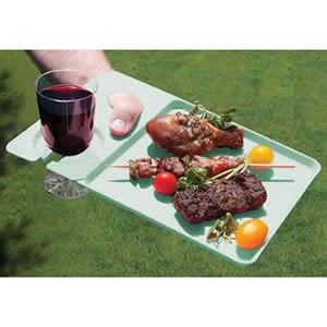 Pack of 4 Green Plastic Dining Trays 30 x 20 x 1cm