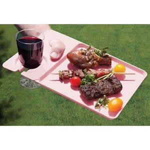 Pack of 4 Pink Plastic Dining Trays 30 x 20 x 1cm