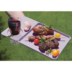 Pack of 4 Purple Plastic Dining Trays 30 x 20 x 1cm