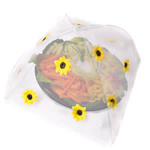 Caraselle Pop-Up Large Mesh Food Cover Umbrella In Polyester with Sunflowers Design 48 x 48 cm