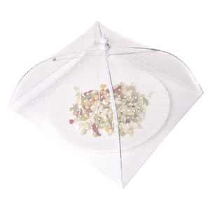 Caraselle Pop-Up Mesh Food Cover Umbrella In Polyester. White with Tiny White Spots. 30 x 30 cm 18 cm