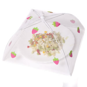 Caraselle Pop-Up Mesh Food Cover Umbrella In Polyester with Strawberries Design 30 x 30 cm 18 cm
