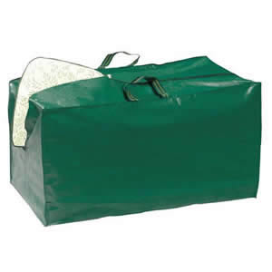 Jumbo Cushion Storage Zipped Bag in Dark Green Tough Woven Polyethylene with handles 90x46x56cm