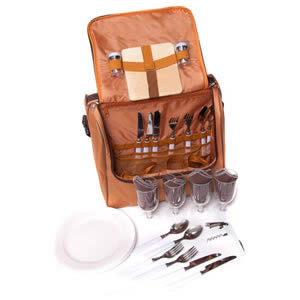 The Caraselle 4-Person Picnic Bag in Two Tone Brown