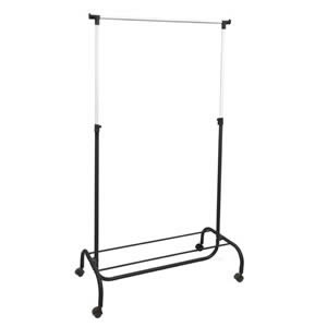 Black & Chrome Garment Rail with Shoe Rack Lightweight Design