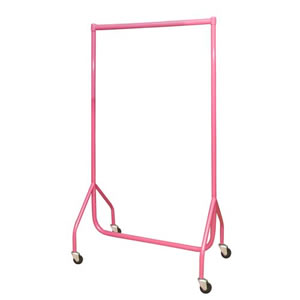 3ft Bespoke Custom Coated Pink Garment Rail, 3inch heavy duty castors