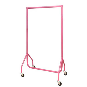3ft Custom Coated Pink Garment Rails, 4inch heavy duty castors