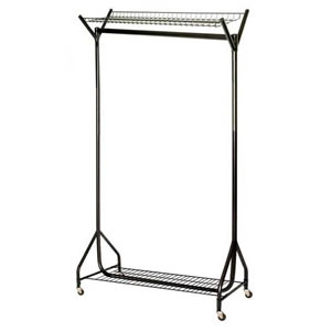 Unique Spacesaving 4' Superior All Black Clothes Rail with Top &amp; Bottom Shelves