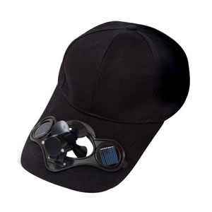 Caraselle Solar Powered Black BaseBall Cap with Fan